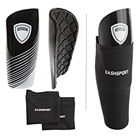 Soccer Shin Guards Youth - by DashSport - Includes Two Shin Guards and Two Compression Calf Sleeves with Pockets