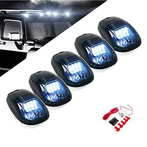 (Komas 5pcs Black Smoked Lens 16 LED Cab Roof Marker Lights, Roof Top Lamp Running Light Replacement + Switch Harness Kit for Truck SUV 2003-2016 Dodge Ram 1500 2500 3500 4500 (16 White LED))