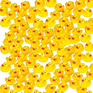 (3.8cm , 100 Pack) - Mini Rubber Ducks Duckie Baby Shower Birthday Party Favours (3.8cm , 100 Pack)