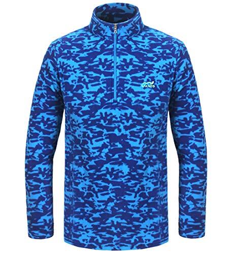 LAKAITO Pullover Fleece Jacket Outbound Half-Zip Sweatshirt Lightweight Windproof Sport Sweater for Hiking Climbing,Blue