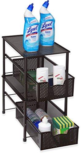 Kitchen SimpleHouseware Stackable Under Sink Cabinet Sliding Basket Organizer Drawer, Bronze under-sink organizers