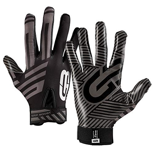 Grip Boost G-Force Football Gloves Youth and Adult Sizes (Black, Large)