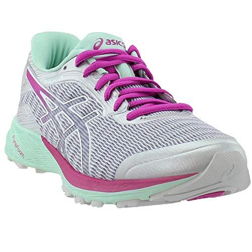 ASICS Women's Dynaflyte Running Shoe, White/Pink Glow/Silver, 7.5 M US