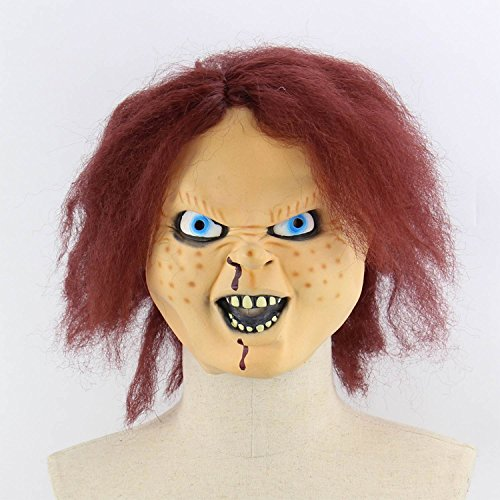 Xigeapg Horror Darkness Zombie Mummy Fire Face Smelly Halloween Room Escape Haunted House Prop Scary Latex Zombie Ghost Mask E]()