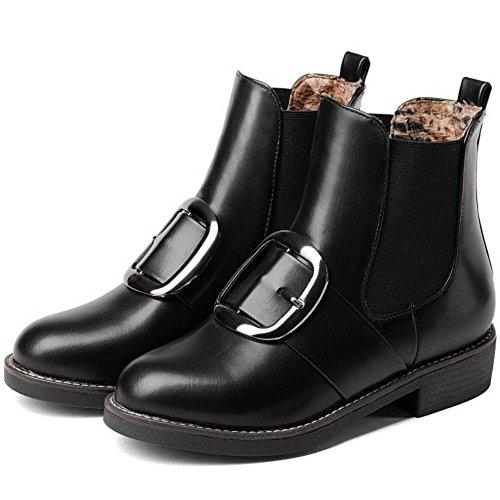 COOLCEPT Damen Mode Stiefel Ohne Verschluss Black