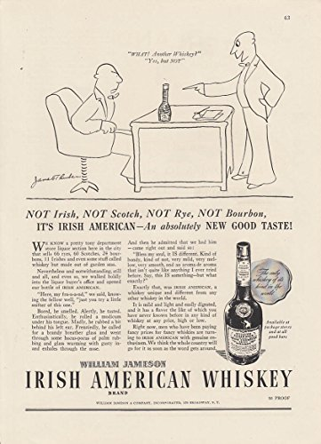 NOT Irish Scotch Rye Bourbon Jameson Irish American Whiskey ad 1936 Thurber art