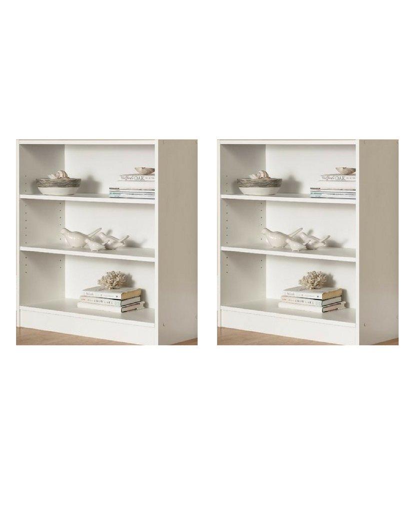 Mylex 2 Pack Mainstays 3-Shelf Bookcase | Wide Bookshelf Storage Wood Furniture in White Finish