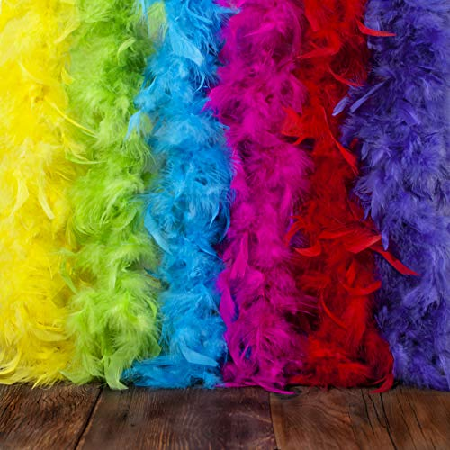 Feather Boa Set of 6 Vibrant Colors - Fits Any Occasion - Mardi Gras Decorations - Party Supplies - Costume Boas - 6.6ft, 40g Long Feather Boas - Fluffy - Costumes for Girls - Eco-Friendly -