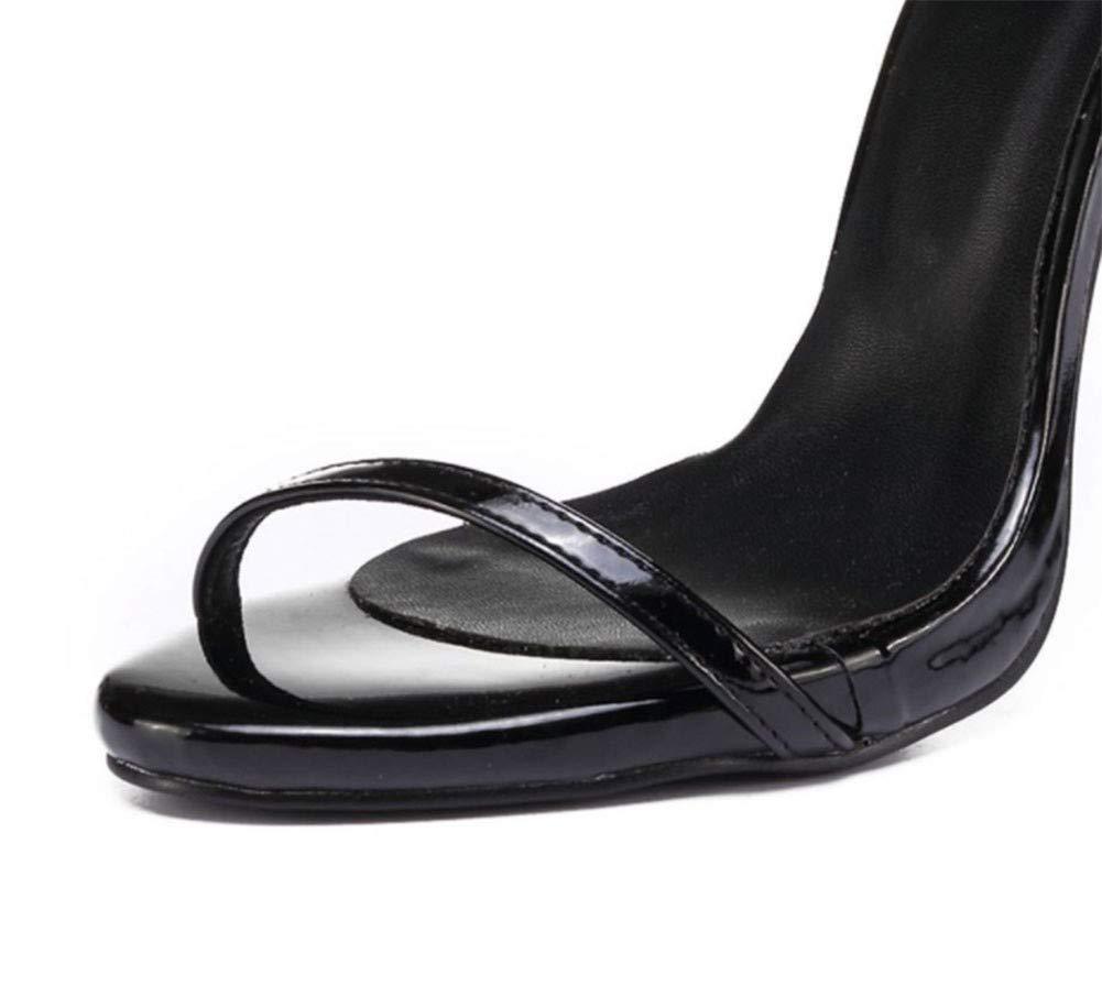 Sandals Frauen, Sommer Schwarz Feder Feder Feder Seil Gürtel High Heel Sexy Fisch Mund Hochzeit Schuhe Lackleder Oberleder Futter Gummisohlen High Heels 11 cm (Farbe   SCHWARZ, größe   39)  adc20b