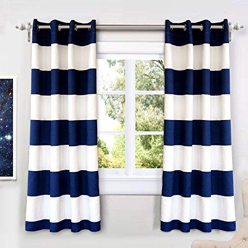 DriftAway Mia Stripe Room Darkening Grommet Unlined Window Curtains, Set of Two Panels, Each 52x63 (Navy)