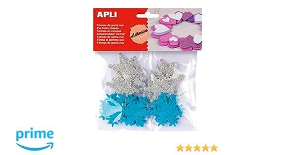 APLI - Bolsa formas EVA adhesiva purpurina formas copo nieve, 22 uds: Amazon.es: Juguetes y juegos