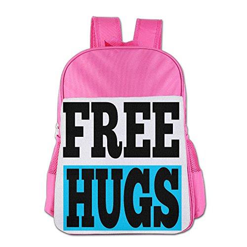 Free Hugs Boy's & Girls's Schoolbag School Bag Shoulders Bag For 4-15 Years Old Pink