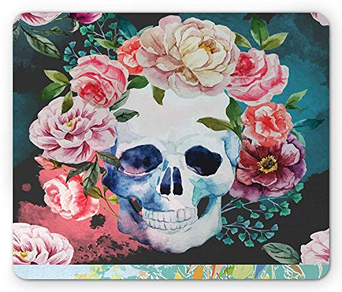 Skull Mouse Pad, Big Flowers and Skull Floral