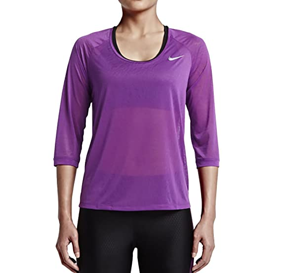 half off 171db 3f7ef Nike Women s Dri-FIT Cool Breeze 3 4 Length Running Shirt 872274 at Amazon  Women s Clothing store