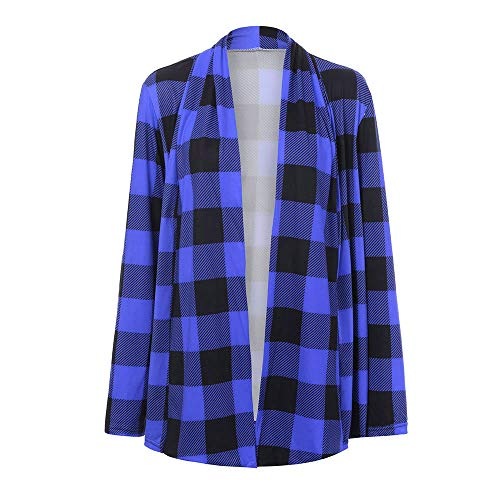 Womens Buffalo Plaid Cardigans Long Sleeve Elbow Patch Draped Open Front Cardigan Sweater (S, Blue)
