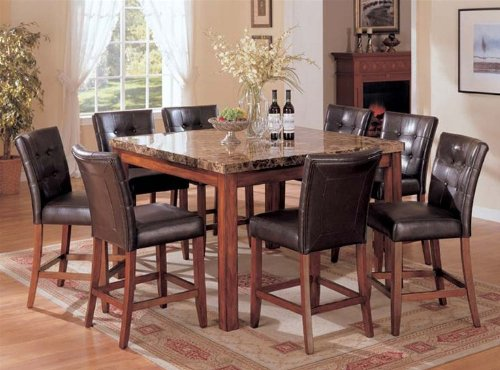 9pc Counter Height Dining Table & Stools Set Dark Brown Finish