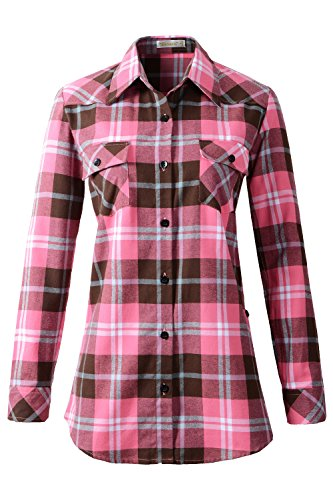 - Benibos Women's Mid-Long Style Roll-Up Sleeve Plaid Flannel Shirt (US 4, C138 Peach Pink)