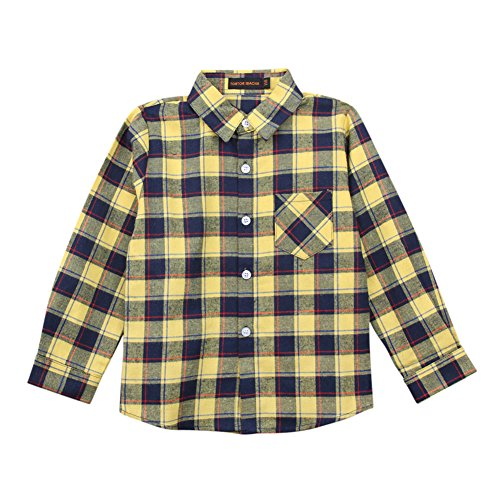 (Tortor 1Bacha Kid Girl Boy Long Sleeve Button Down Plaid Flannel Shirt (Yellow Black, 7 Years))