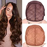 10Pcs Soft Breathable Wig Cap For Making Wigs Wig Net Double Lace Front Wig Cap With Adjustable Strap Mesh Cap Light Brown M 10PCS