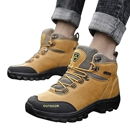 Dasuy Men Women Hiking Shoes Waterproof Lightweight Hiking Boots for Outdoor Trekking Slip Resistant Work Safety Shoes (US:10, Yellow)