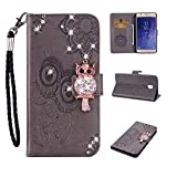 Strap Diamond Wallet Case for Samsung Galaxy J3 2018,Aoucase Luxury 3D Owl Bling Gems Magnetic Cute Mandala Print PU Leather Card Slot Soft Silicone Stand Flip Case with Black Dual-use Pen - Gray