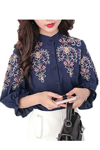 Blusas de un solo pecho bordado Retro de las mujeres Blue XXL