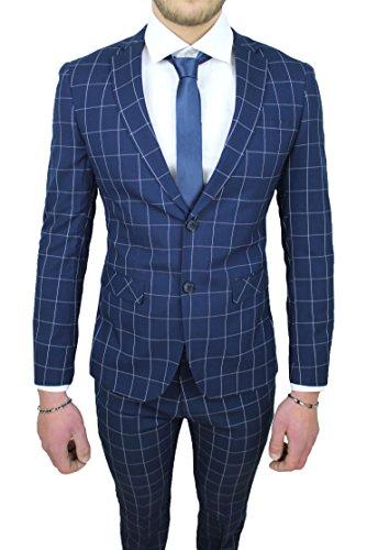 Cerimonia Blu Vestito Quadri Completo Abito Elegante Sartoriale Uomo 0qt8wOfa
