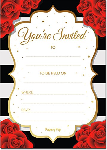 Papery Pop Invitations with Envelopes (15 Count) - Bridal Shower Invitations, Wedding Shower Invitations, Bachelorette Party Invitations, Birthday ()