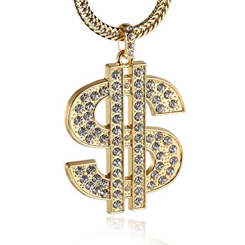 - HZMAN Men 18k Real Gold Plated Dollar Sign Pendant Necklace,Cz Inlay,with Free Fishtail Hip hop Chain 30