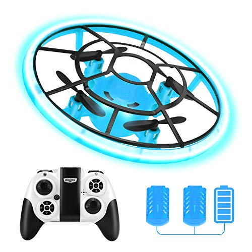 Mini Drones For Kids,RC Drone For Beginners With Neno Light,RC Helicopter Quadcopter With Altitude Hold,360° Rotating,Shinning Led Lights,2 Batteries,Kids Gifts Toys For Boys Girls (Blue)