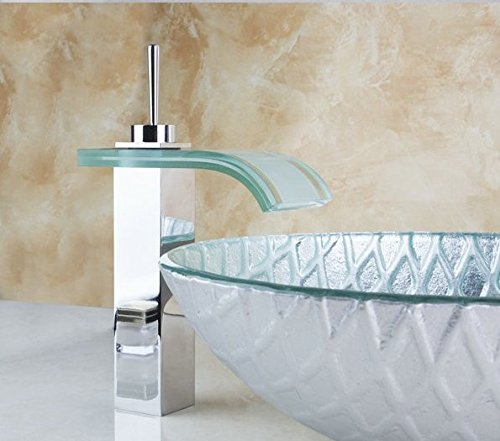 GOWE Round Painting Bathroom Art Washbasin Tempered Glass Vessel Sink With Square Waterfall Glass Brass Faucet Set 1