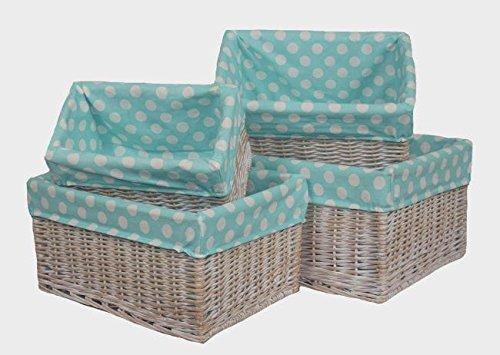 Blue Spotty Lined Wicker Open Storage Baskets Set of 4 by Red Hamper