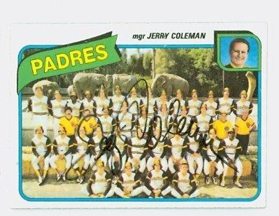 Jerry Coleman AUTOGRAPH d.14 1980 Topps #356 San Diego Padres Team ()
