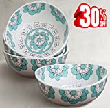 Porcelain Bowls Set 4 Cereal Soup Bowl, 20 Ounce Hand Made Stoneware, Mint Blue, Thanksgiving Christmas Gifts