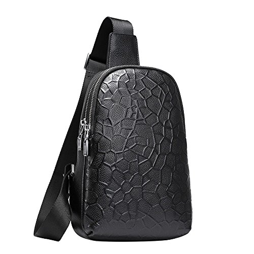 Shoulder Soft Chest Spring Men's Cowhide First 2018 Fashion Imported And Layer Summer Bag Black Leather Y7OUUfSwq
