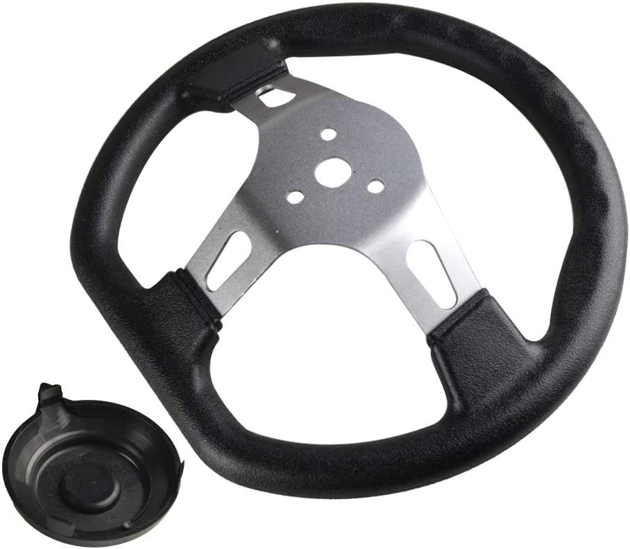 FLYPIG 10.6 Steering Wheel w//Cap 10.5 Inch Steering Wheel 270mm Steering Wheel Go karts ATV Electric Go Kart Off-Road Scooter for TAOTAO Buggy