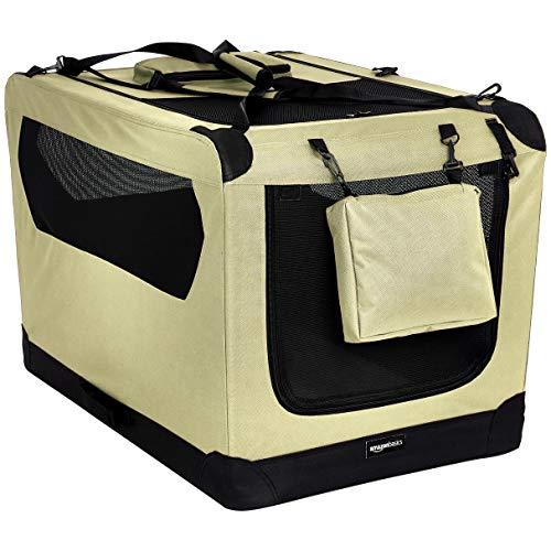 (AmazonBasics Premium Folding Portable Soft Pet Dog Crate Carrier Kennel - 36 x 24 x 24 Inches, Khaki )