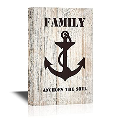 Canvas Wall Art - Family Anchors The Soul Quotes on Wood Style Background - Gallery Wrap Modern Home Art | Ready to Hang - 12x18 inches