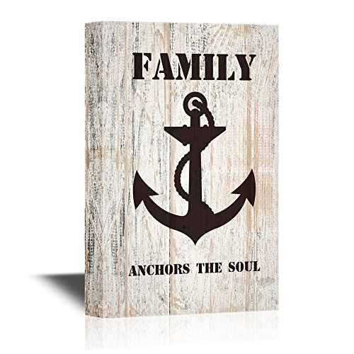 Family Anchors The Soul Quotes on Wood Style Background