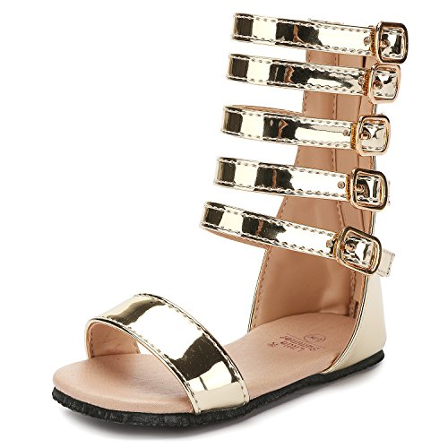 UBELLA Toddler Kids Gladiator Sandals Summer Knee High Sandals for Girls Gold]()