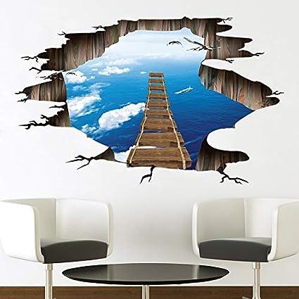 Adesivi Murali 3d Grandi.Sky Ocean Broken Bridge 3d Grandi Adesivi Murali Home Decor