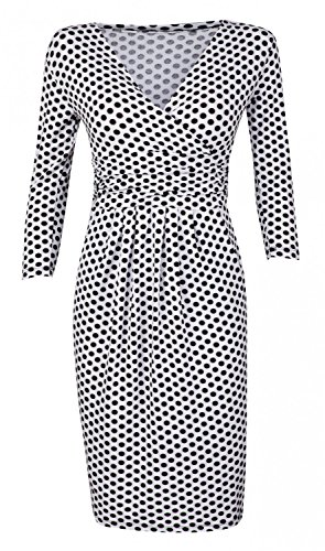 Glamour Empire Womens Polka Dot Pencil Dress with Pockets. Empire Waist. 019 (White with Dots, US 14, 3XL)