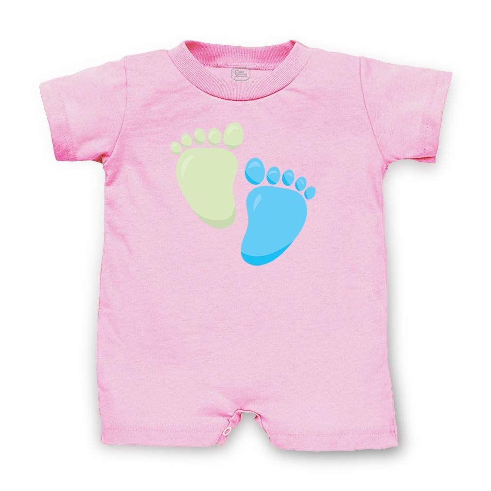 Baby Boy Feet Short Sleeve Taped Neck Boys-Girls Cotton Infant Romper