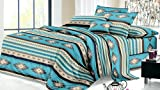 Rustic Western Southwest Native American Design 4 Piece Sheet Set Navajo Print Multicolor Turquoise Blue 17426 Queen Turquoise Sheet Set