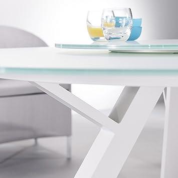 Table ronde de jardin Saria, 6 couverts, aluminium et verre blanc ...