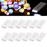 12 Pack Mini Party Lights with 3 LEDs, YUNLIGHTS Waterproof Lights For Paper Lanterns Balloons Party Decoration - White