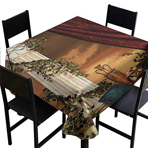 Glifporia Square Tablecloth Wood Gothic,Greek Style Scene Climber