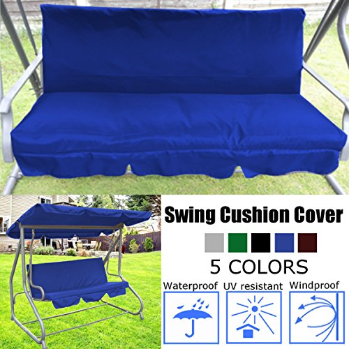 dDanke Patio Swing Cushion Cover Swing Seat Cover Replacement for 3 Seat Swing Chair Dustproof Protection 150X50X10CM, Cover Only (Blue)