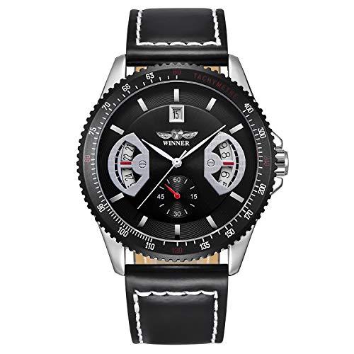 Bestn Wristwatches Mens' Calendar Auto Mechanical PU Leather Watch (Black)