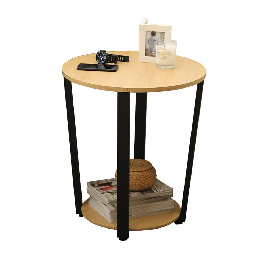 LYR 2 Tier Sofa Side Table with Storage, Small Round Coffee Table with Wooden Table top and Carbon Steel Bracket, 505057cm (Color : Yellow) by LYR